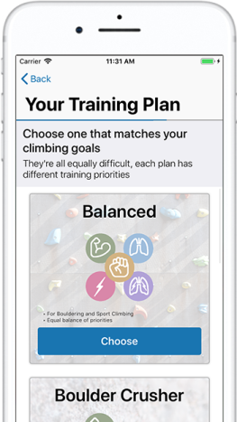 Choose a training plan that matches your climbing performance goals in ClimbingCoach