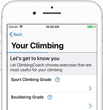 Choose your current climbing grades in ClimbingCoach